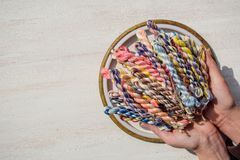 Braided threads for embroidery royalty free stock image