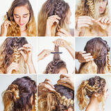 Braided updo tutorial for a curly hair. By beauty blogger stock image