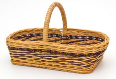Braided wicker basket isolated Royalty Free Stock Photography