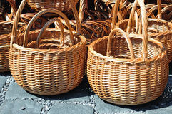 Braided wicker baskets Stock Images
