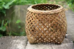 Braiding basket for the fish used in Asia Royalty Free Stock Photos