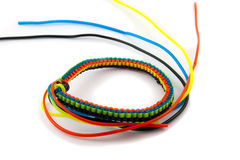 Braiding cords. Colorful Plastic Braiding cords on a white background Royalty Free Stock Images