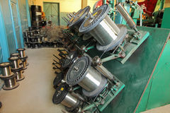 Braiding machine.Steel wire spools. Royalty Free Stock Photos