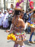braids in Andean dancers Royalty Free Stock Images