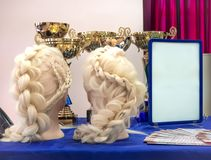 Braids and cups team in a beauty salon. Professional hair care and creating hairstyles. royalty free stock photos