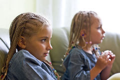 Braids sisters Stock Photo