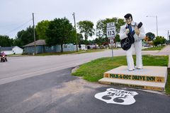 Statue of Elvis Presley at the Polk-a-Dot. BRAIDWOOD, IL - USA - JULY 16: Statue of Elvis Presley at the Polk-a-Dot polka dot Drive In, on Route 66, on July 16 Royalty Free Stock Image