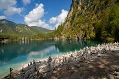 Braies湖, Lago di Braies,白云岩阿尔卑斯,贝卢诺,意大利 库存图片