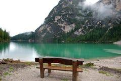 Braies jezioro na Dolomiti górze, Włochy Obrazy Stock