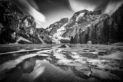 Braies jezioro na Italy Zdjęcia Royalty Free