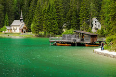 Braies lake Royaltyfria Foton