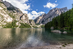 Braies lake Royaltyfri Fotografi