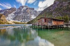 Braies lake on alps Stock Images