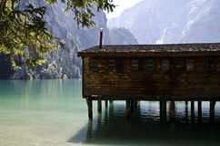 Braies lake Royalty Free Stock Photography