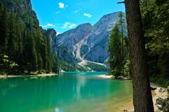 Braies Lake, Dolomites - Italy. View of the Braies Lake and Croda del Becco, Dolomites - Italy royalty free stock photography