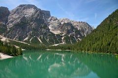 Braies Lake in Dolomites mountains, Seekofel in background, Sudtirol Stock Image
