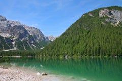 Braies Lake in Dolomites mountains, Seekofel in background, Sudtirol Stock Photo