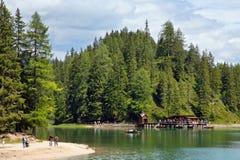 Braies Lake in Dolomites mountains, Seekofel in background, Sudtirol Stock Images