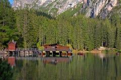 Braies Lake in Dolomites mountains, Seekofel in background, Sudtirol Royalty Free Stock Photo