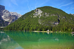 Braies Lake in Dolomites mountains, Seekofel in background, Sudtirol Royalty Free Stock Photos
