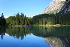 Braies Lake in Dolomites mountains, Seekofel in background, Sudtirol Stock Photos
