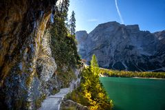 Braies Lake, Dolomites, Trentino Alto Adige, Italy. Lake Braies is a small alpine lake located in the Val di Braies at 1,496 m above sea level. in the royalty free stock photography