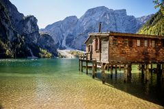 Braies Lake, Dolomites, Trentino Alto Adige, Italy. The lake of Braies is a small alpine lake located in Val di Braies a valley at the Val Pusteria at 1,496 m. S royalty free stock images