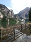 Braies lake in Dolomiti mountains Stock Photos