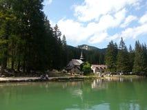 Braies lake in Dolomiti mountains Royalty Free Stock Image
