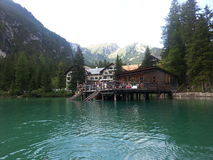 Braies lake in Dolomiti mountains Royalty Free Stock Image