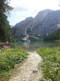 Braies lake in Dolomiti mountains Royalty Free Stock Photos