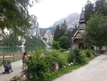 Braies lake in Dolomiti mountains Stock Photography