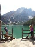 Braies lake in Dolomiti mountains Stock Images