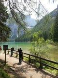 Braies lake in Dolomiti mountains Stock Image