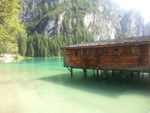 Braies lake Royalty Free Stock Photo