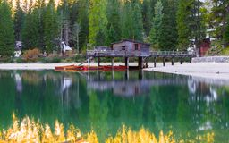 Braies lake and house in the background of Seekofel mountain. In Dolomites,Italy Pragser Wildsee royalty free stock photography