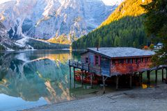 Braies lake and house in the background of Seekofel mountain P. Braies lake and house in the background of Seekofel mountain in Dolomites,Italy Pragser Wildsee royalty free stock images