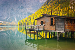 Braies lake hut Stock Images