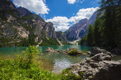 Braies Lake in Italy Stock Images