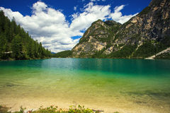 Braies Lake in Italy Royalty Free Stock Photos