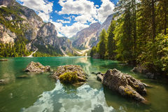 Braies Lake in Italy Stock Photography