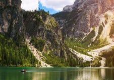 Braies Lake in Italy Stock Photos