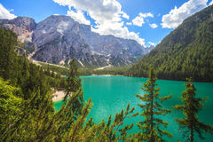 Braies Lake in Italy Royalty Free Stock Photo