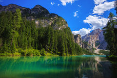 Braies Lake in Italy Royalty Free Stock Images