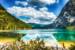 Braies lake Royalty Free Stock Images