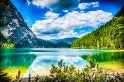 Braies lake Stock Image