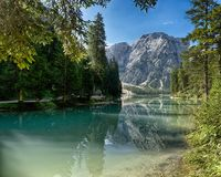 Braies Lake and Mount Croda del Becco Stock Photo