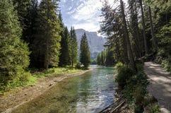 Braies Lake path - Trentino Italy. Trekking path around the lake royalty free stock photography