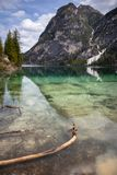 Location, Braies Lake - Trentino Alto Adige - Italy. Braies Lake in winter, tcolors and reflections in the lake stock images