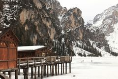 Braies, Val Pusteria, Dolomiti. Braies is the name of a municipality in the homonymous valley, which stretches in southern direction, branching off from the Val stock photo